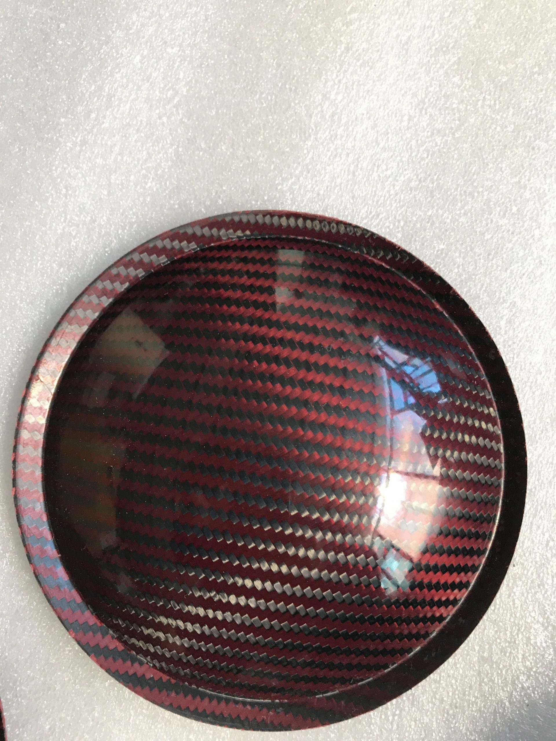 "5.9"" (150mm) Carbon Fiber Dust Cap Red / Black"