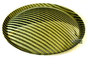 "5.9"" (150mm) Carbon Fiber Dust Cap Yellow / Black"